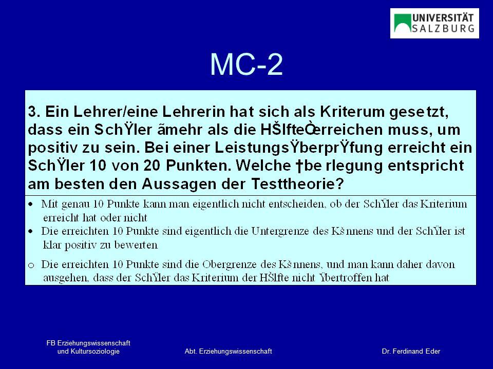 FB Erziehungswissenschaft und KultursoziologieAbt. Erziehungswissenschaft Dr. Ferdinand Eder MC-2