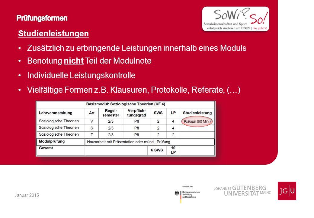 Studienleistungen Zusätzlich zu erbringende Leistungen innerhalb eines Moduls Benotung nicht Teil der Modulnote Individuelle Leistungskontrolle Vielfältige Formen z.B.