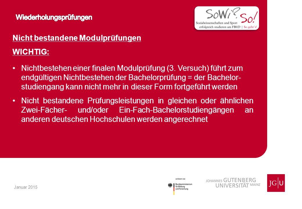 Nicht bestandene Modulprüfungen WICHTIG: Nichtbestehen einer finalen Modulprüfung (3.