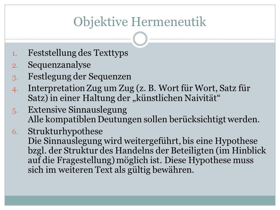 Objektive Hermeneutik 1.Feststellung des Texttyps 2.