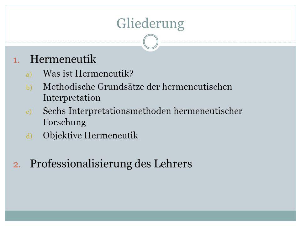 Gliederung 1.Hermeneutik a) Was ist Hermeneutik.