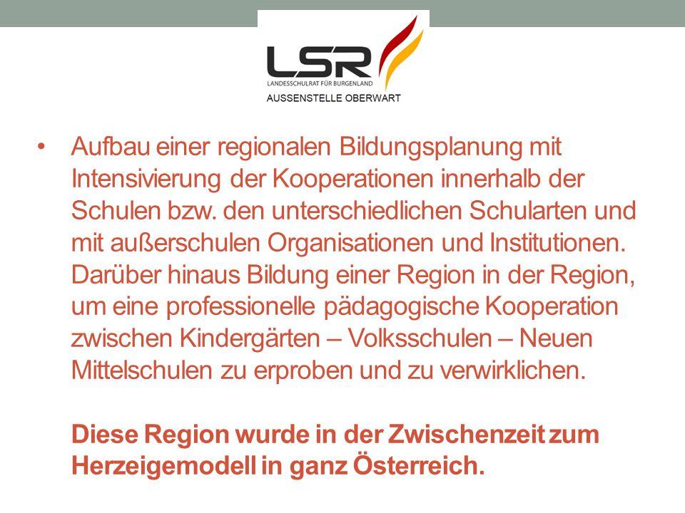 Aufbau einer regionalen Bildungsplanung mit Intensivierung der Kooperationen innerhalb der Schulen bzw. den unterschiedlichen Schularten und mit außer