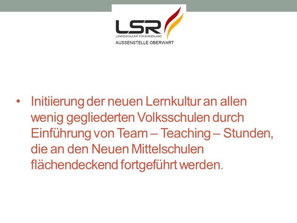Initiierung der neuen Lernkultur an allen wenig gegliederten Volksschulen durch Einführung von Team – Teaching – Stunden, die an den Neuen Mittelschul