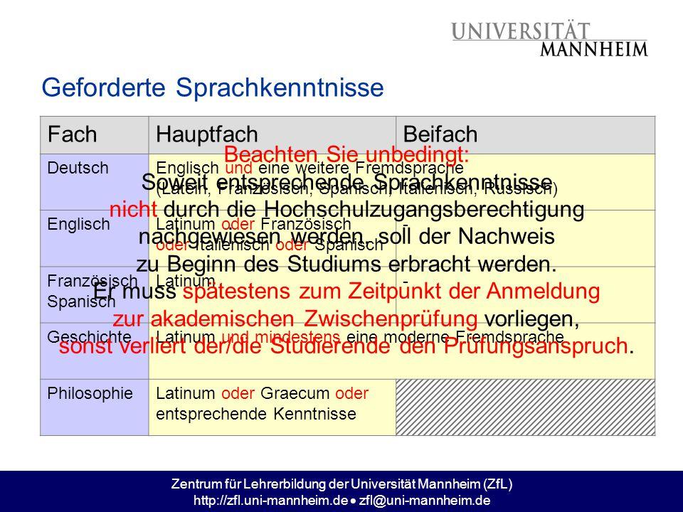 Zentrum für Lehrerbildung der Universität Mannheim (ZfL) http://zfl.uni-mannheim.de  zfl@uni-mannheim.de Geforderte Sprachkenntnisse FachHauptfachBei