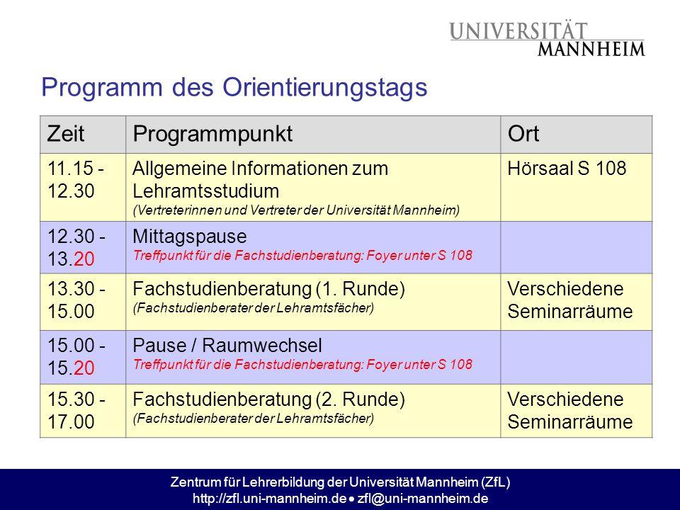 Zentrum für Lehrerbildung der Universität Mannheim (ZfL) http://zfl.uni-mannheim.de  zfl@uni-mannheim.de Programm des Orientierungstags ZeitProgrammp
