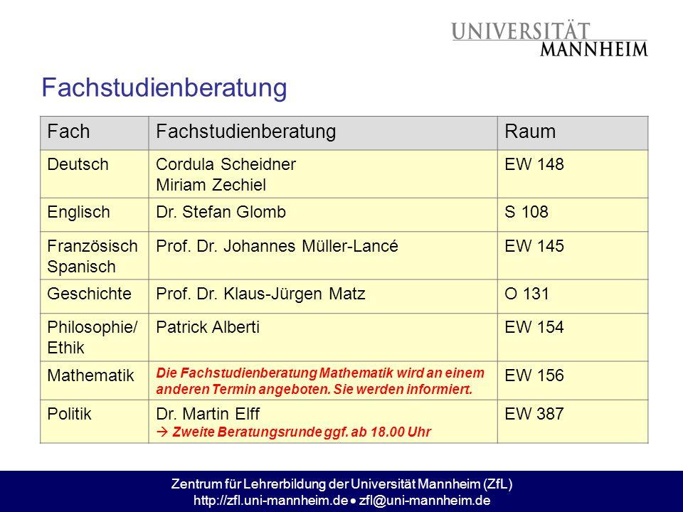 Zentrum für Lehrerbildung der Universität Mannheim (ZfL) http://zfl.uni-mannheim.de  zfl@uni-mannheim.de Fachstudienberatung FachFachstudienberatungR