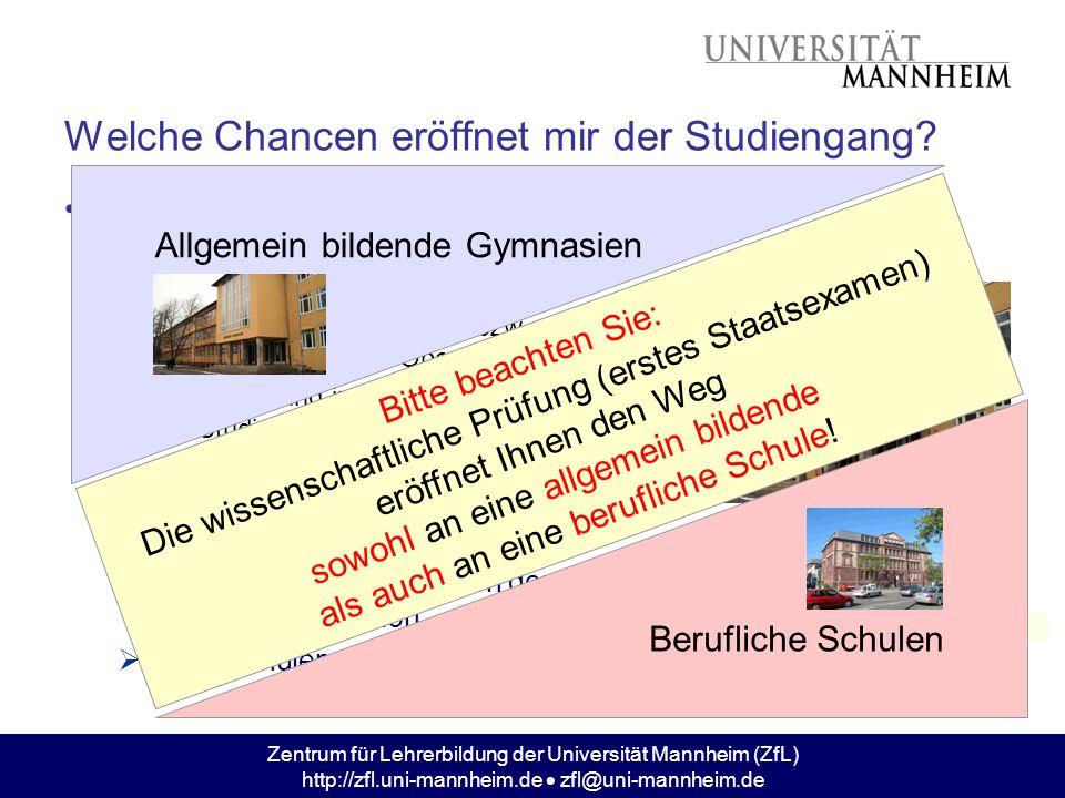 Zentrum für Lehrerbildung der Universität Mannheim (ZfL) http://zfl.uni-mannheim.de  zfl@uni-mannheim.de Welche Chancen eröffnet mir der Studiengang?