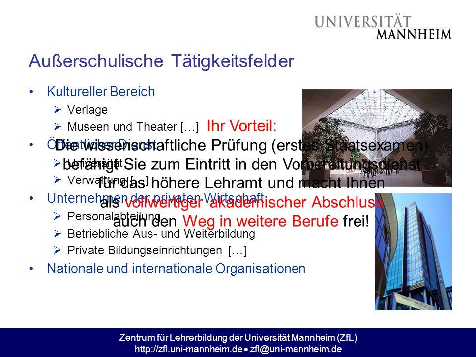 Zentrum für Lehrerbildung der Universität Mannheim (ZfL) http://zfl.uni-mannheim.de  zfl@uni-mannheim.de Außerschulische Tätigkeitsfelder Kultureller