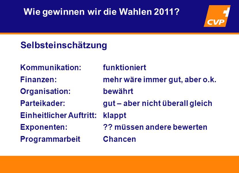 Selbsteinschätzung Wie gewinnen wir die Wahlen 2011.
