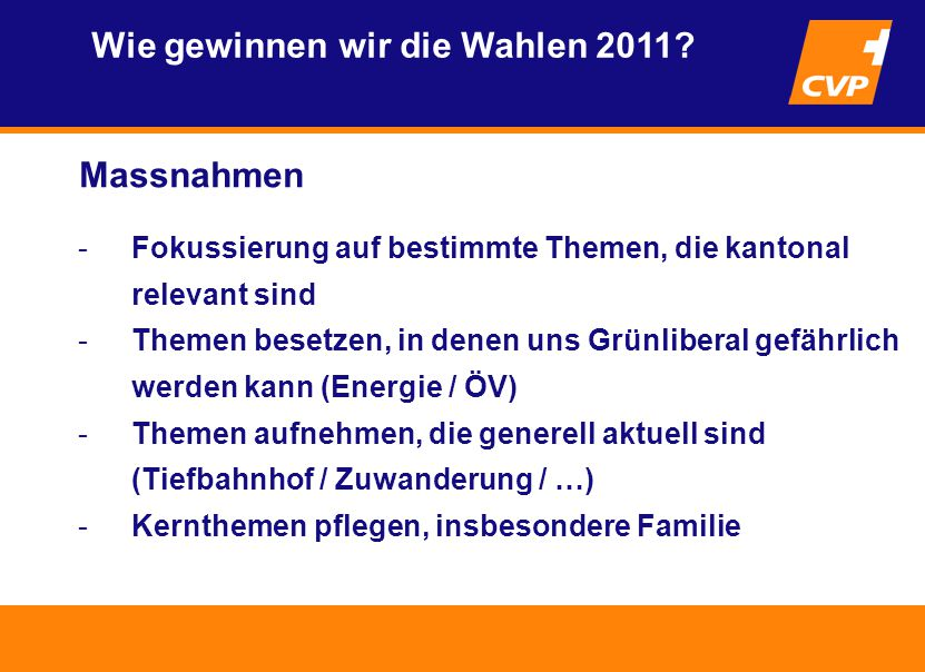 Massnahmen Wie gewinnen wir die Wahlen 2011.