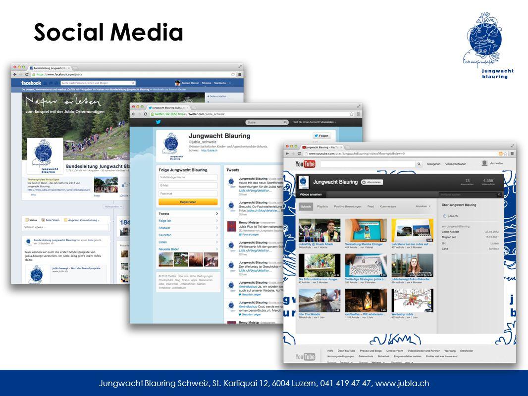 Social Media Jungwacht Blauring Schweiz, St. Karliquai 12, 6004 Luzern, 041 419 47 47, www.jubla.ch