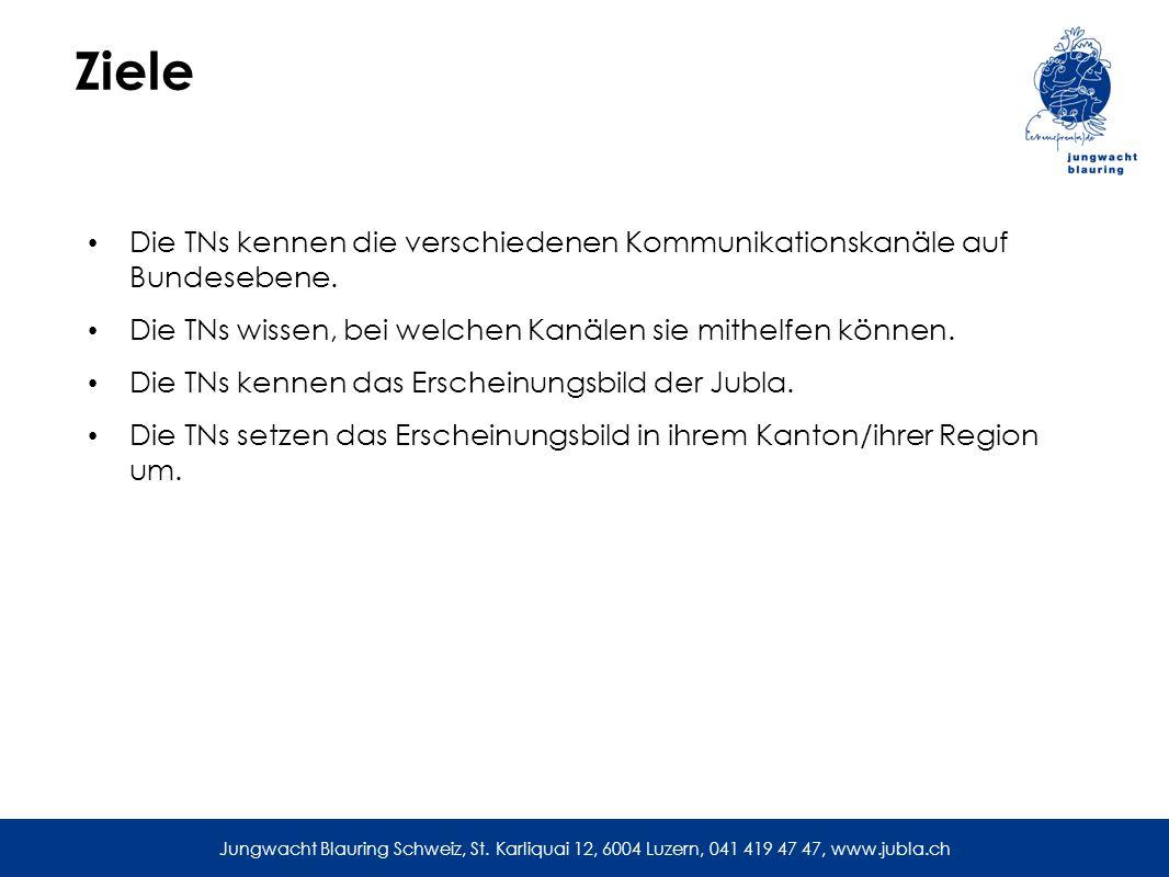 Ziele Die TNs kennen die verschiedenen Kommunikationskanäle auf Bundesebene.