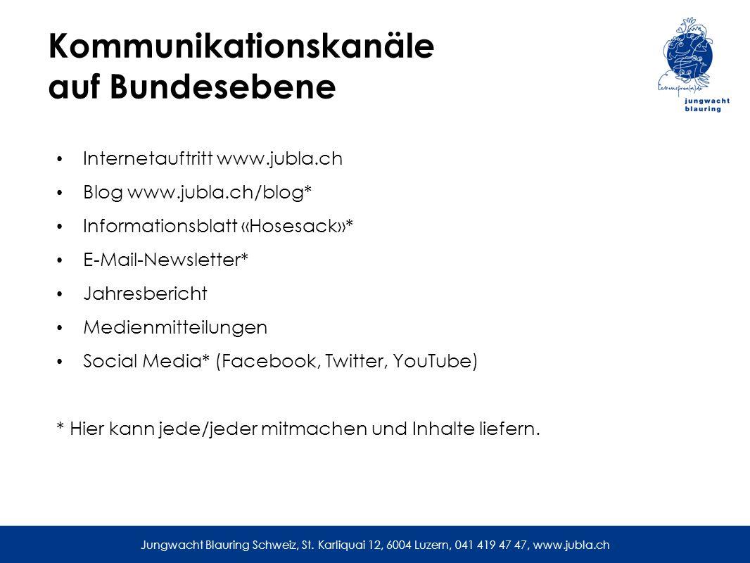 Kommunikationskanäle auf Bundesebene Internetauftritt www.jubla.ch Blog www.jubla.ch/blog* Informationsblatt «Hosesack»* E-Mail-Newsletter* Jahresbericht Medienmitteilungen Social Media* (Facebook, Twitter, YouTube) * Hier kann jede/jeder mitmachen und Inhalte liefern.