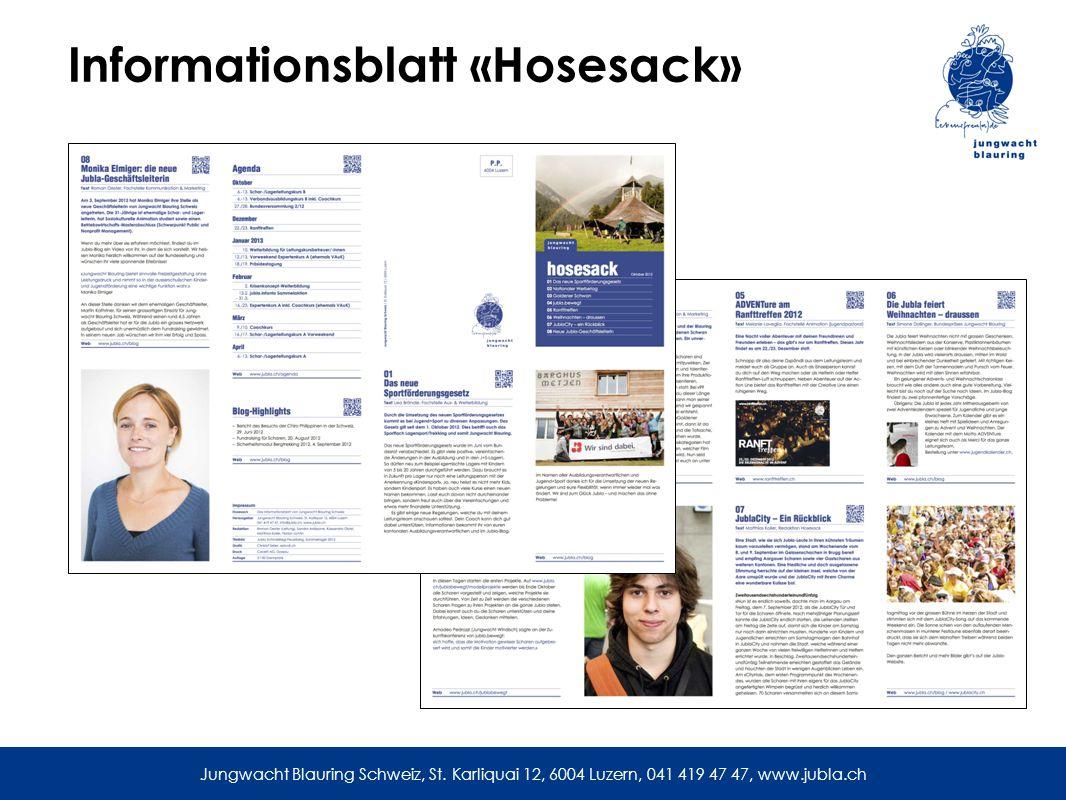 Informationsblatt «Hosesack» Jungwacht Blauring Schweiz, St.