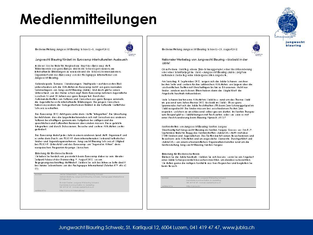 Medienmitteilungen Jungwacht Blauring Schweiz, St.