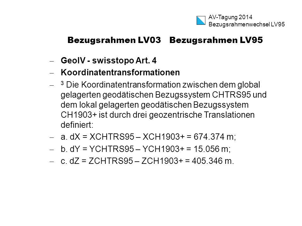 Bezugsrahmen LV03 Bezugsrahmen LV95  GeoIV - swisstopo Art. 4  Koordinatentransformationen  3 Die Koordinatentransformation zwischen dem global gel