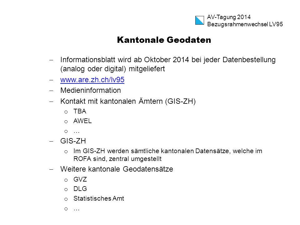Kantonale Geodaten  Informationsblatt wird ab Oktober 2014 bei jeder Datenbestellung (analog oder digital) mitgeliefert  www.are.zh.ch/lv95 www.are.