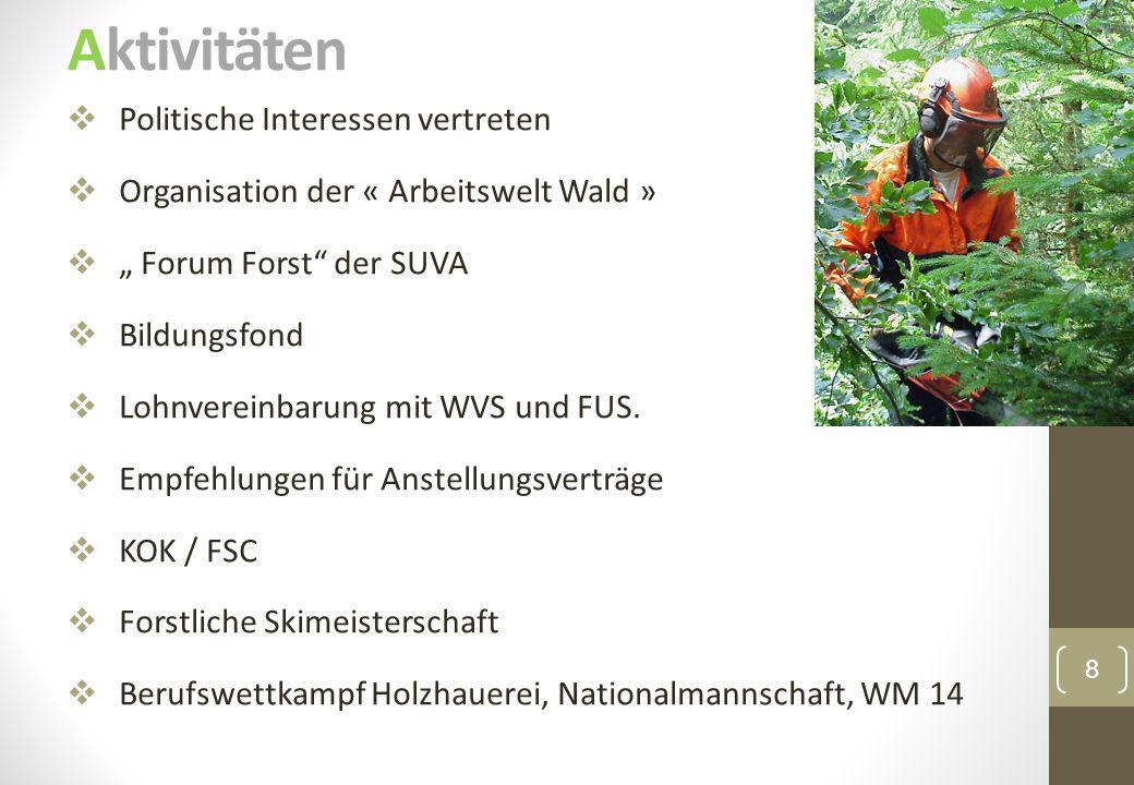 """Aktivitäten 8  Politische Interessen vertreten  Organisation der « Arbeitswelt Wald »  """" Forum Forst"""" der SUVA  Bildungsfond  Lohnvereinbarung mi"""