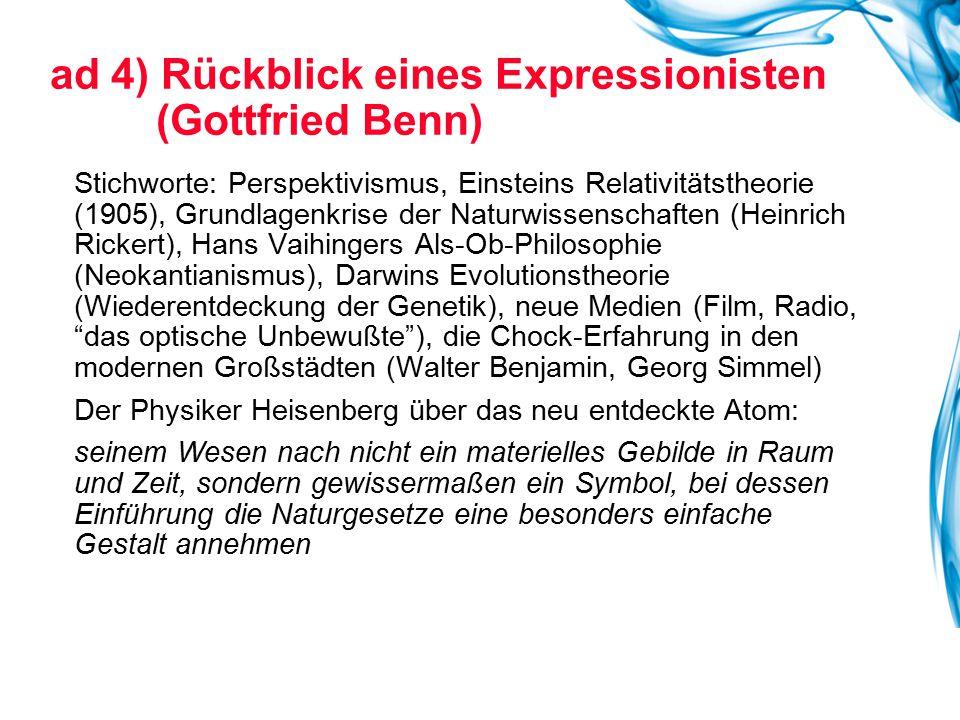Stichworte: Perspektivismus, Einsteins Relativitätstheorie (1905), Grundlagenkrise der Naturwissenschaften (Heinrich Rickert), Hans Vaihingers Als-Ob-