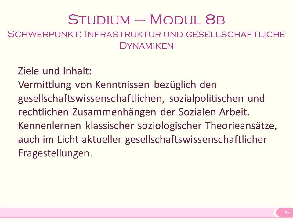 28 Studium – Modul 8b Schwerpunkt: Infrastruktur und gesellschaftliche Dynamiken Ziele und Inhalt: Vermittlung von Kenntnissen bezüglich den gesellsch