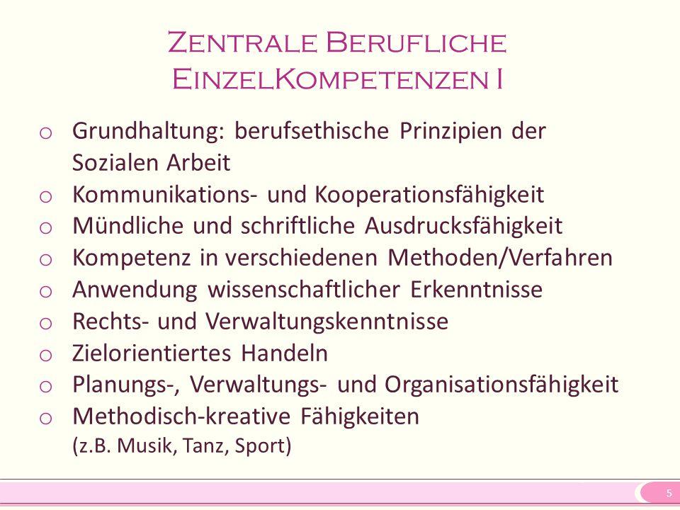 5 Zentrale Berufliche EinzelKompetenzen I o Grundhaltung: berufsethische Prinzipien der Sozialen Arbeit o Kommunikations- und Kooperationsfähigkeit o