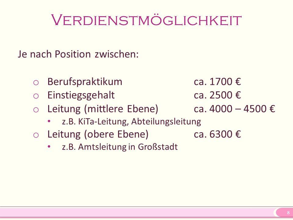 8 Verdienstmöglichkeit Je nach Position zwischen: o Berufspraktikumca. 1700 € o Einstiegsgehaltca. 2500 € o Leitung (mittlere Ebene)ca. 4000 – 4500 €