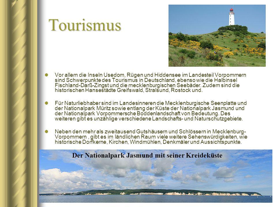 Tourismus Vor allem die Inseln Usedom, Rügen und Hiddensee im Landesteil Vorpommern sind Schwerpunkte des Tourismus in Deutschland, ebenso wie die Hal
