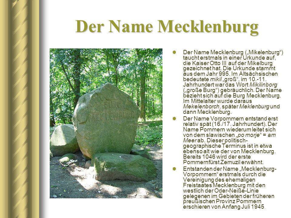 """Der Name Mecklenburg Der Name Mecklenburg (""""Mikelenburg"""") taucht erstmals in einer Urkunde auf, die Kaiser Otto III auf der Mikelburg gezeichnet hat."""