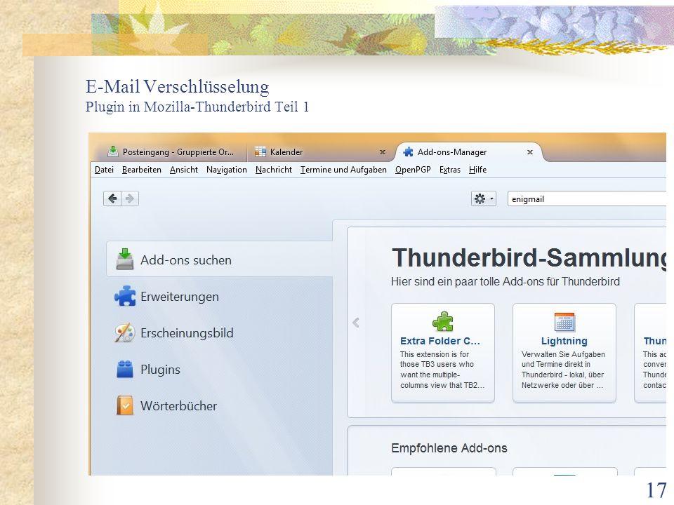 17 E-Mail Verschlüsselung Plugin in Mozilla-Thunderbird Teil 1