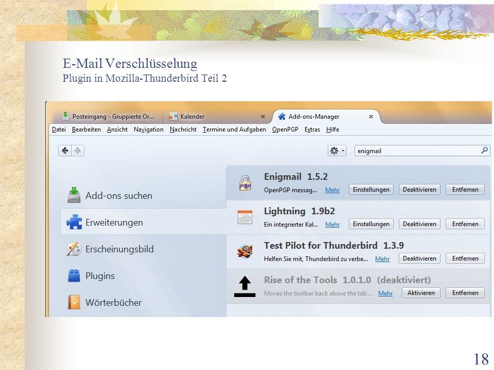 18 E-Mail Verschlüsselung Plugin in Mozilla-Thunderbird Teil 2
