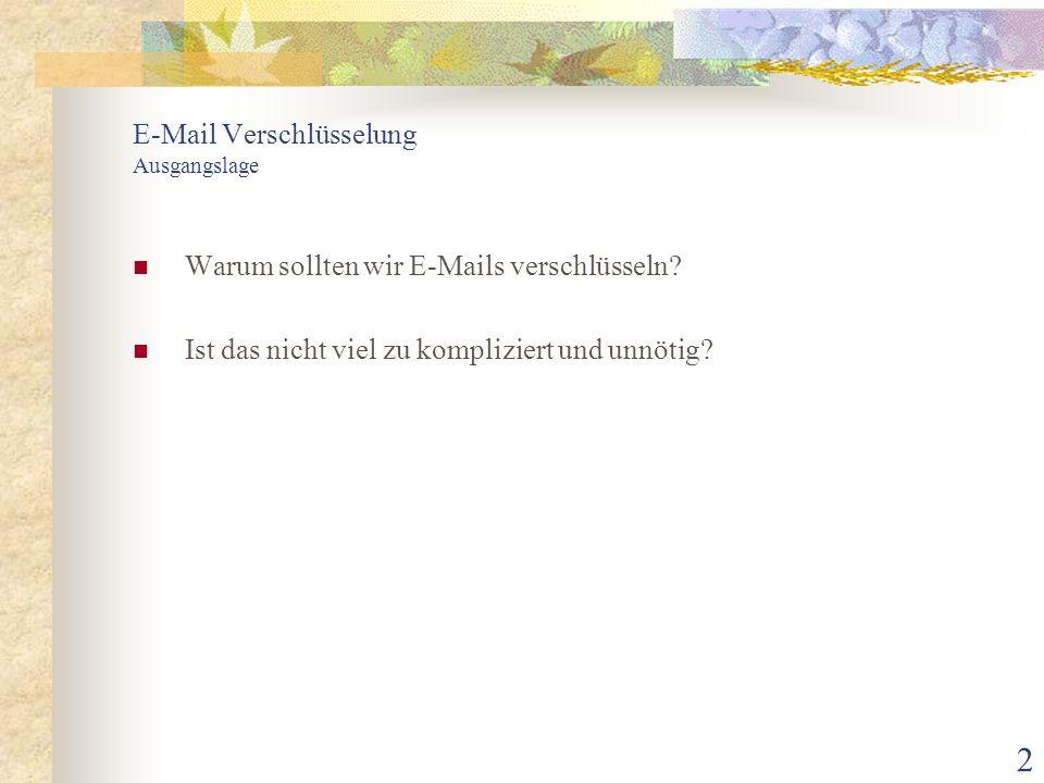 2 E-Mail Verschlüsselung Ausgangslage Warum sollten wir E-Mails verschlüsseln? Ist das nicht viel zu kompliziert und unnötig?