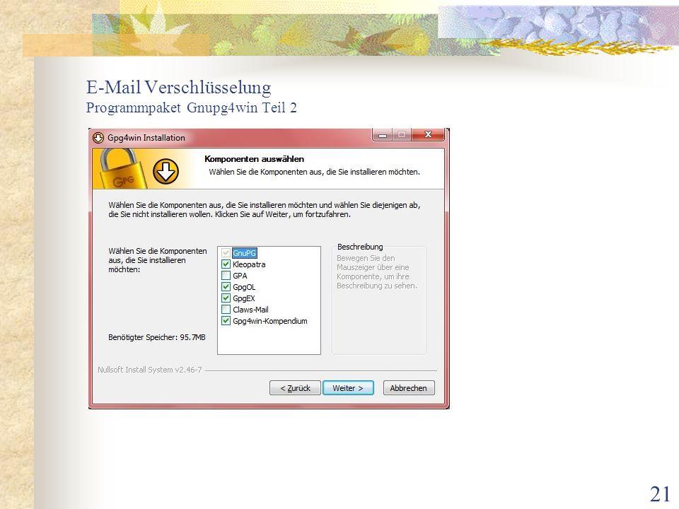 21 E-Mail Verschlüsselung Programmpaket Gnupg4win Teil 2