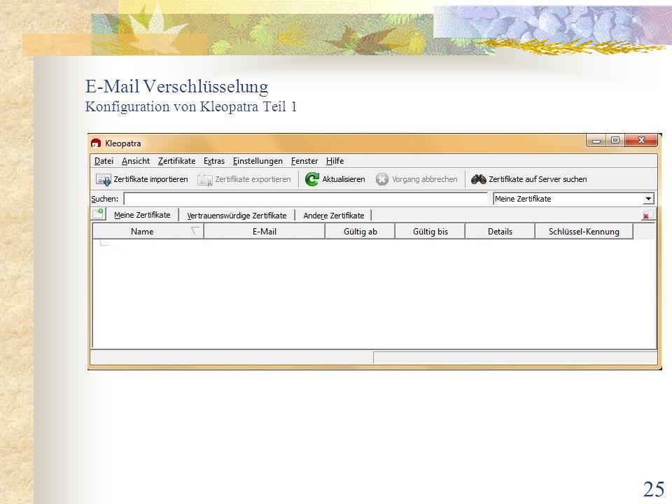 25 E-Mail Verschlüsselung Konfiguration von Kleopatra Teil 1