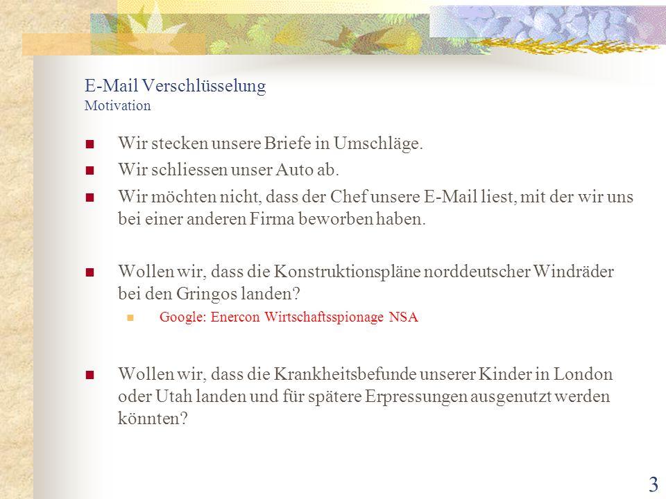 44 E-Mail Verschlüsselung Literatur [L1] Timo Dotzauer / Tobias Lütticke, Das SSH-Buch Leitfaden für den sicheren Einsatz von OpenSSH, Millin Verlag Lohmar [L2] Jörg Schwenk, Sicherheit und Kryptographie im Internet [E-Mails], Verlag Vieweg + Teubner Wiesbaden [L3] Gnupg4win (www.gpg4win.de): PDF-Doku hat ca.