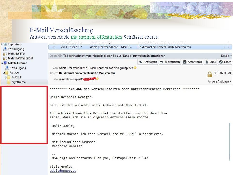 39 E-Mail Verschlüsselung Antwort von Adele mit meinem öffentlichen Schlüssel codiert