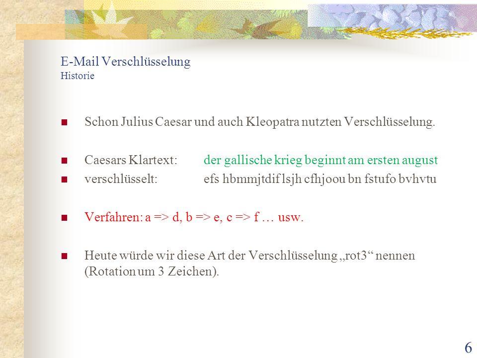 """7 E-Mail Verschlüsselung Verschlüsselung im Usenet In der Frühzeit des Usenet (net.jokes) verschlüsselte man """"anzügliche Witze oder Pointen mit """"rot13 : Durch Eingabe von """"g? in vim (aus minGW):"""