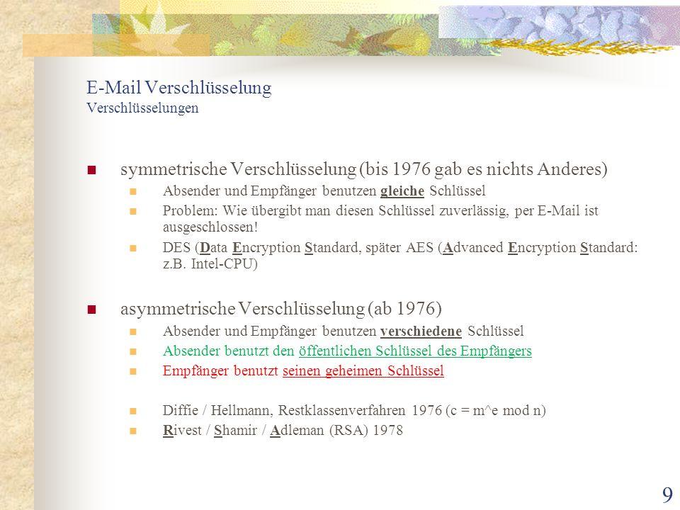 9 E-Mail Verschlüsselung Verschlüsselungen symmetrische Verschlüsselung (bis 1976 gab es nichts Anderes) Absender und Empfänger benutzen gleiche Schlü