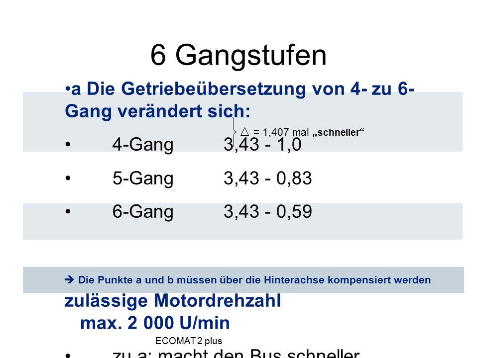 a Die Getriebeübersetzung von 4- zu 6- Gang verändert sich: 4-Gang 3,43 - 1,0 5-Gang 3,43 - 0,83 6-Gang 3,43 - 0,59 b Bei 6-Gang-Getriebe ist die höch