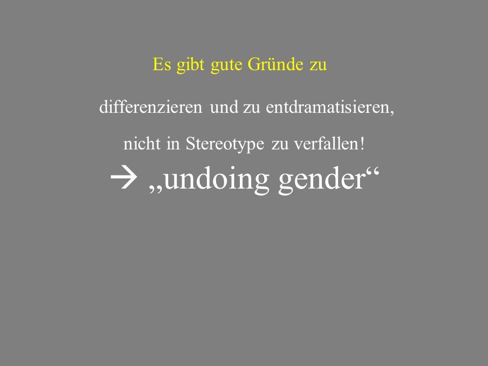 """Es gibt gute Gründe zu differenzieren und zu entdramatisieren, nicht in Stereotype zu verfallen!  """"undoing gender"""""""