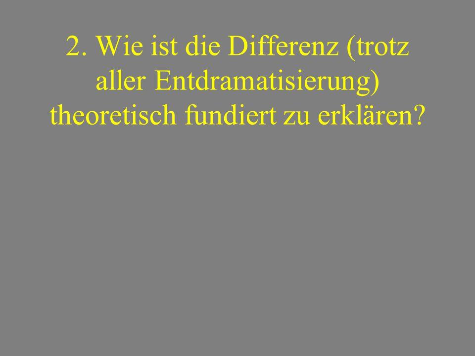 2. Wie ist die Differenz (trotz aller Entdramatisierung) theoretisch fundiert zu erklären?