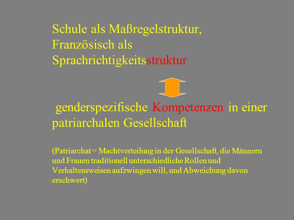 Schule als Maßregelstruktur, Französisch als Sprachrichtigkeitsstruktur genderspezifische Kompetenzen in einer patriarchalen Gesellschaft (Patriarchat