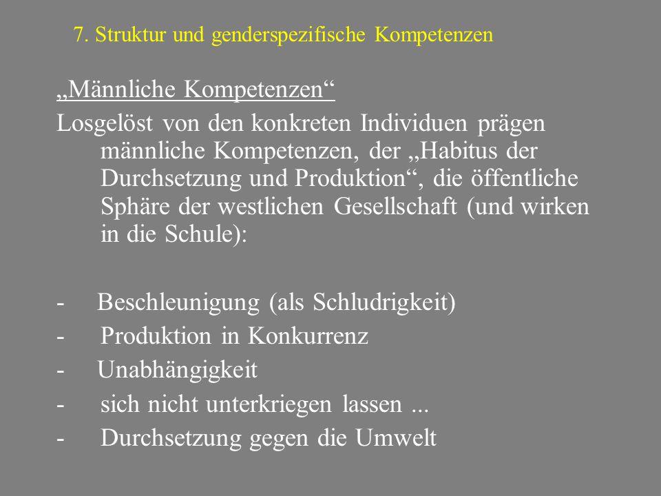 """""""Männliche Kompetenzen"""" Losgelöst von den konkreten Individuen prägen männliche Kompetenzen, der """"Habitus der Durchsetzung und Produktion"""", die öffent"""