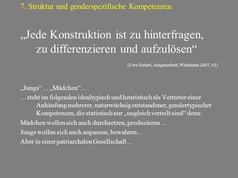 """""""Jede Konstruktion ist zu hinterfragen, zu differenzieren und aufzulösen"""" (Uwe Sielert, Jungenarbeit, Weinheim 2007, 43) """"Jungs""""... """"Mädchen""""...... st"""