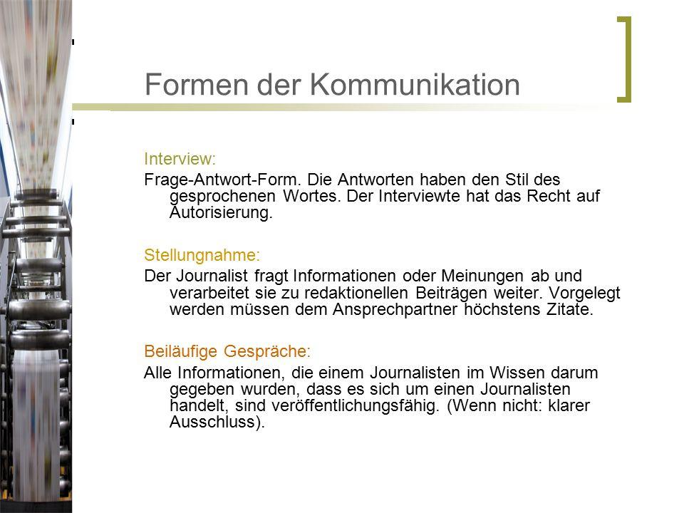 Formen der Kommunikation Interview: Frage-Antwort-Form.