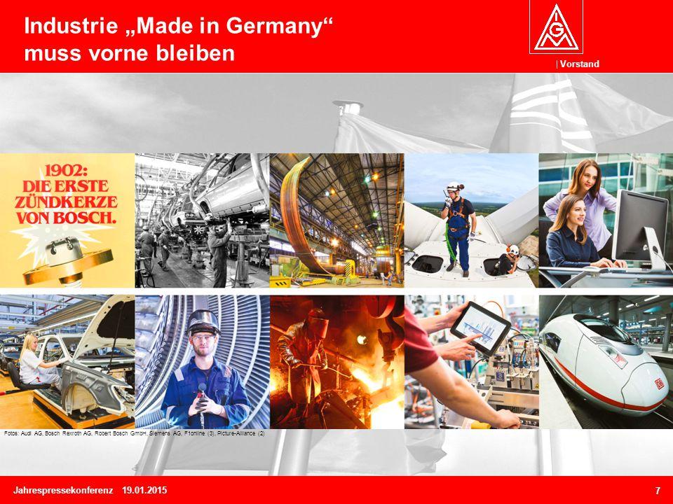 """Vorstand Jahrespressekonferenz 19.01.2015 7 Industrie """"Made in Germany muss vorne bleiben Fotos: Audi AG, Bosch Rexroth AG, Robert Bosch GmbH, Siemens AG, F1online (3), Picture-Alliance (2)"""