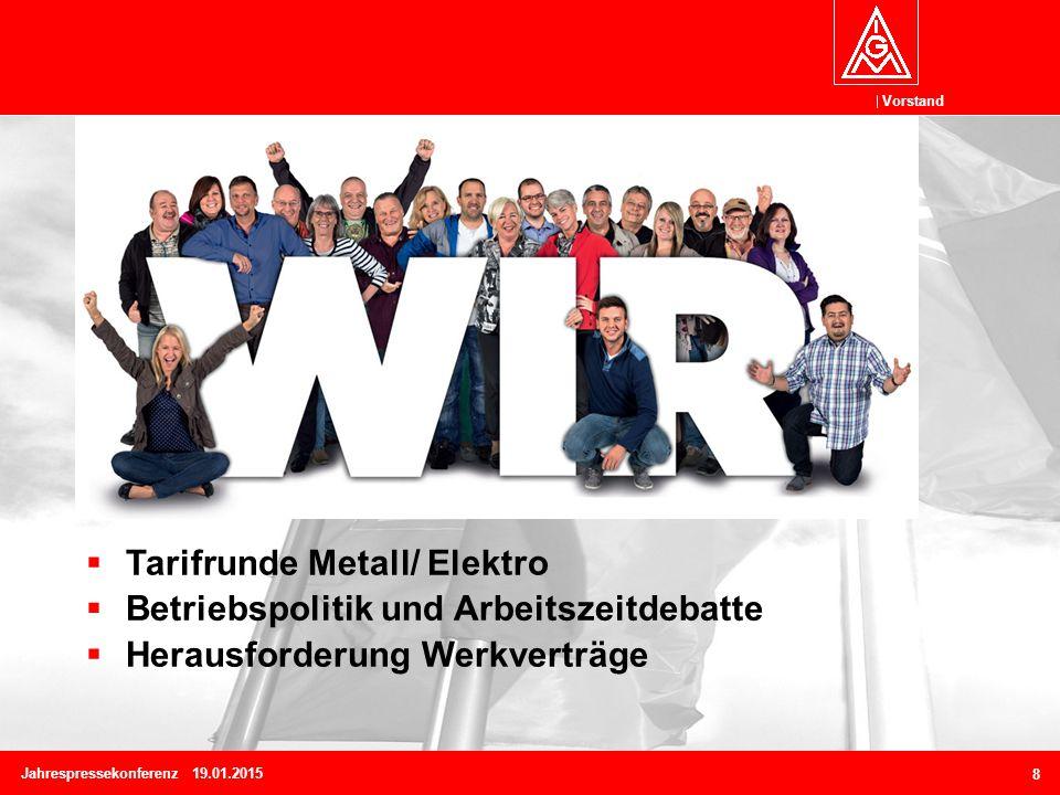 Vorstand Jahrespressekonferenz 19.01.2015 8  Tarifrunde Metall/ Elektro  Betriebspolitik und Arbeitszeitdebatte  Herausforderung Werkverträge
