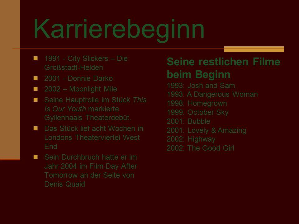 Karrierebeginn 1991 - City Slickers – Die Großstadt-Helden 2001 - Donnie Darko 2002 – Moonlight Mile Seine Hauptrolle im Stück This Is Our Youth marki