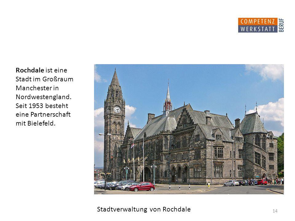 Rochdale ist eine Stadt im Großraum Manchester in Nordwestengland.