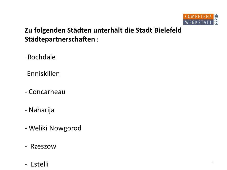 - Rochdale -Enniskillen - Concarneau - Naharija - Weliki Nowgorod - Rzeszow - Estelli Zu folgenden Städten unterhält die Stadt Bielefeld Städtepartnerschaften : 8