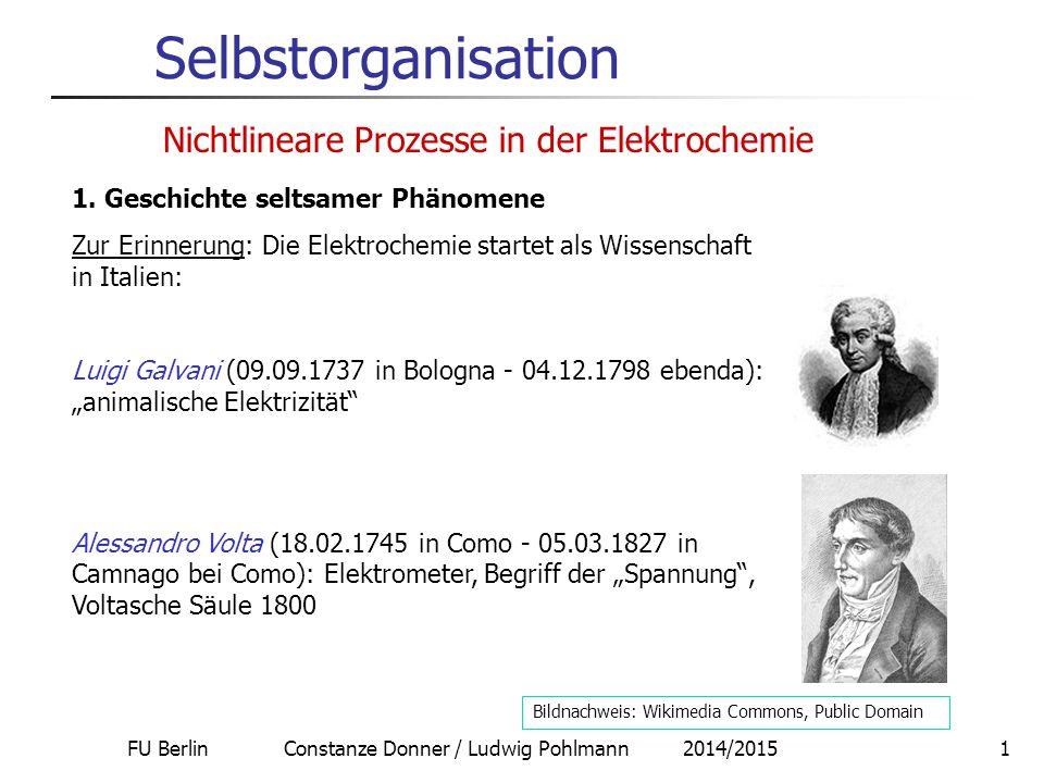 FU Berlin Constanze Donner / Ludwig Pohlmann 2014/20152 Selbstorganisation 1.